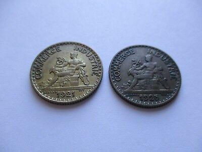 "Coins France 1921 1925 Antiques ""1"" Franc French Coin Set Of 2 Souvenirs  #960"