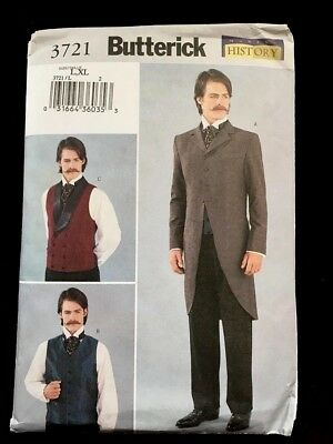 Butterick Uncut Men's Historical Halloween Costume Pattern Sz. L-XL Jacket Vest