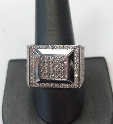 STERLING SILVER Men Cubic Zirconia Square Design Big RING SZ 10.50  & 13gr