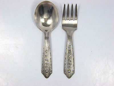 Vintage Wallace Sterling Silver Baby Fork & Spoon Set, Normandie 1933