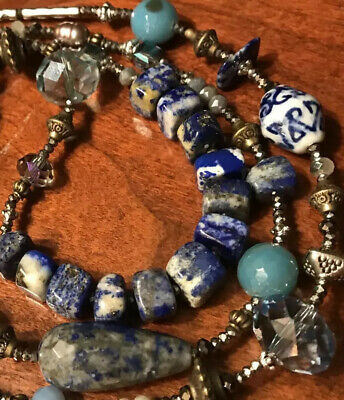 LAPIS LAZULI & LAMPWORK Beads Blue Agate Pearls Stone Exotic Old World Necklace