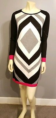 57f1f973154 NWOT Eliza J Pink Black Gray and White Color Block Dress Sweater Knit Size S
