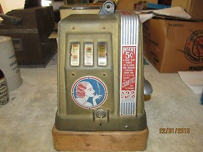 Vintage  Ginger Cigarette Slot Machine Trade Simulator 1930's