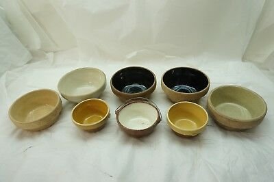 VINTAGE STONEWARE BOWL LOT 8 MINIATURE SMALL YELLOW WARE 3-4in DIA MIXING CROCK