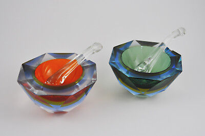 MCM Italian Murano Sommerso (Submerged) Pair of Cubed Glass Mortar and Pestles