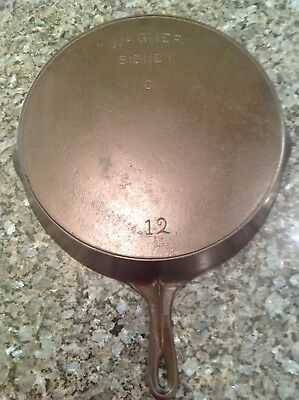 Antique Wagner Sidney O # 12 Cast Iron Skillet Arch Logo and Heat Ring