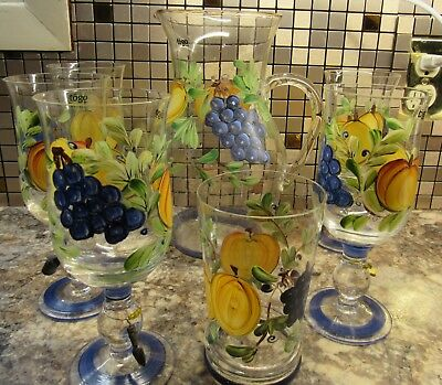 WINE GLASSES/PITCHER/TUMBLER..Good Match for Black Forest Fruits Dinnerware