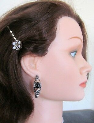 Big 925 Silver, 14K Gold And Onyx Vintage Earrings.