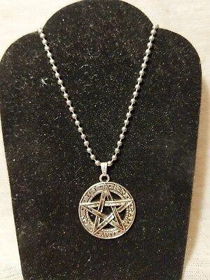 """Pentagram Necklace Jewelry Pagan Occult Wicca Wiccan Occult 22"""" Stainless Steel"""
