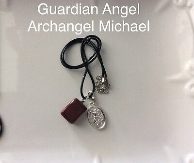 Code 348 Archangel Michael Red Jasper Infused necklace Root Chakra Spiritual New