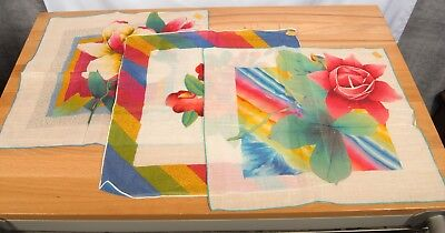VTG KIMBALL Creations Lot of 3 Hand Painted Floral Hankies Handkerchiefs NOS/USA