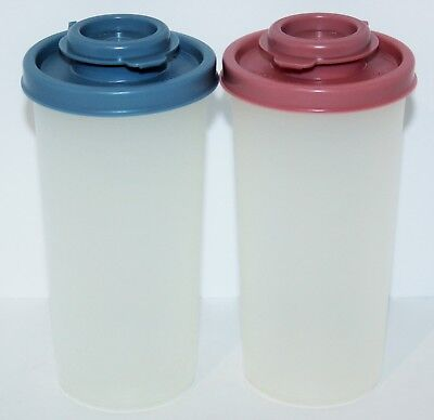 Tupperware Salt & Pepper Shaker Set Country Blue & Dusty Rose Pink Vintage Rare