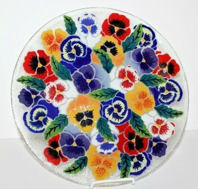 """Large Signed 13 1/2"""" Inches Peggy Karr Painted Pansy Flower Glass Plate Platter"""