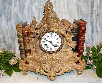 Antique French Brunfaut Gilt Mantel Clock Figural Statue Late 1800's