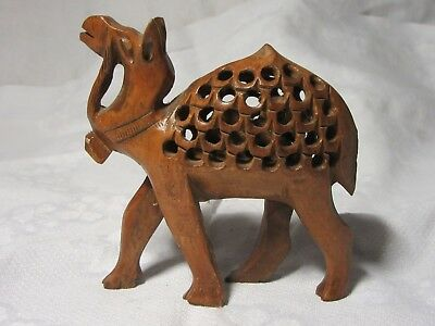 Carved WOODEN CAMEL With A 2nd Camel Carved Inside Hump