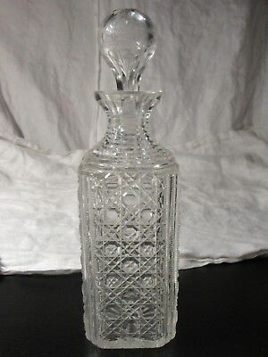 Antique HOBNAIL SQUARE CUT Victorian DECANTER & Hollow Engraved Stopper