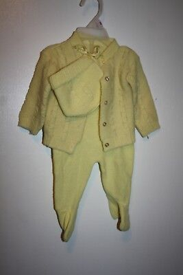 vintage baby- boy/girl 3 piece  set sweater outfit yellow