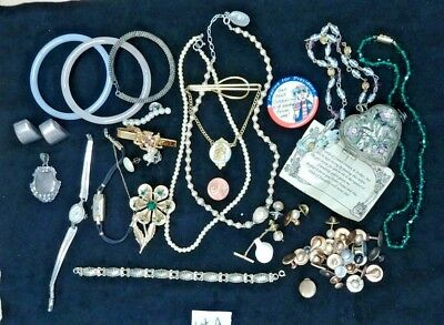 Vintage Antique Now Mix JUNK DRAWER Jewelry Lot LQQK Marked Unmarked