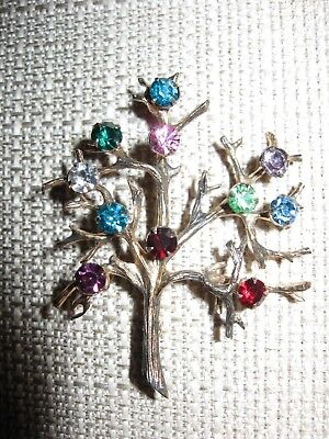 Vintage gold over sterling silver rhinestone tree of life brooch pin