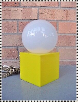 Vintage Small Mid Century Modern Atomic Pop Art Retro Cube Lamp Light