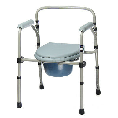 Commode Shower Chair Bedside Bathroom Potty Chair Seat Foldable Adjustable Aid