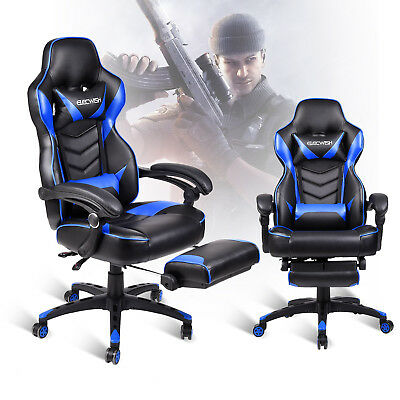 Gaming Chair High Back Ergonomic Racing PU Leather Computer Footrest Office Seat