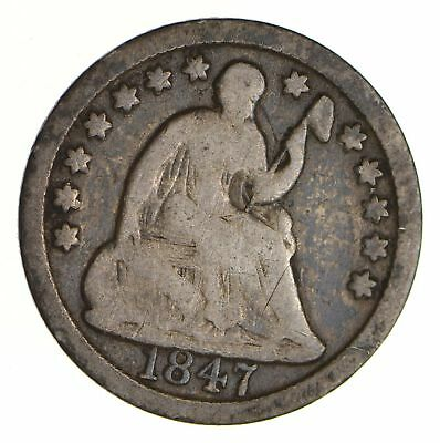 5c ***1/2 Dime** - 1847 Seated Liberty Half Dime - Early American Type Coin *874