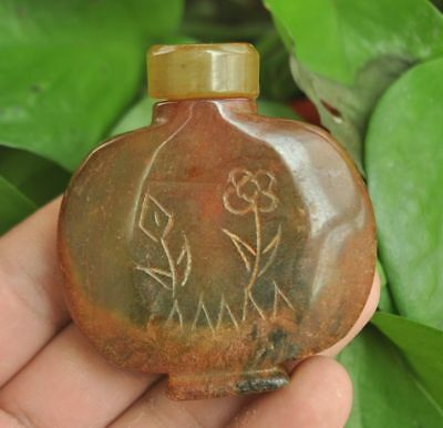 Chinese ancient old hard jade hand-carved pendant necklace~Snuff bottle  M003