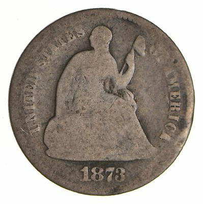 5c ***1/2 Dime** - 1873 Seated Liberty Half Dime - Early American Type Coin *868