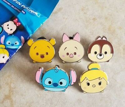 Disney Trading Pins Lot of 5 Pooh Stitch Tinker Bell Piglet from Series 1 Pack