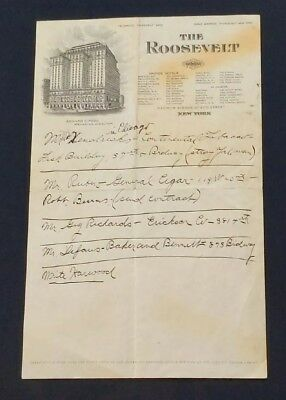 1910'S Illustrated Letter Head THE ROOSEVELT HOTEL Madison Ave New York