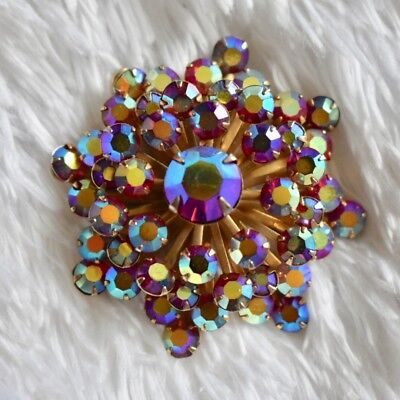 Vintage Red AB Aurora Borealis Crystal Starburst Flower Gold Brooch