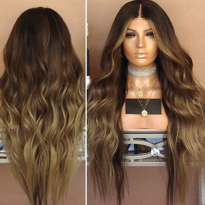 Women Fashion Synthetic Hair Lace Front Wig Body Wavy Full Wigs Ombre Blonde AU