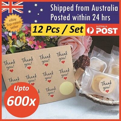 Thank You Adhesive Stickers Thankyou Sticker Kraft Paper Seal Label Decor