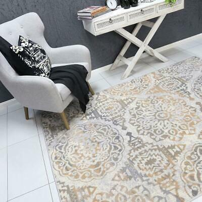 Elliot Classic Distressed Beige Grey Modern Floor Rug - 3 Sizes **FREE DELIVERY*