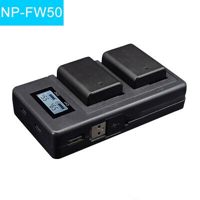 2x 2000mAh NP-FW50 Battery + LCD USB Dual Charger for Sony Alpha a6500 NEX-3 a7R