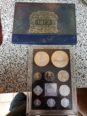 1973 PROOF Set INDIA 11 Coin Set Republic Of INDIA PROOF SET with BOX RARE!!!