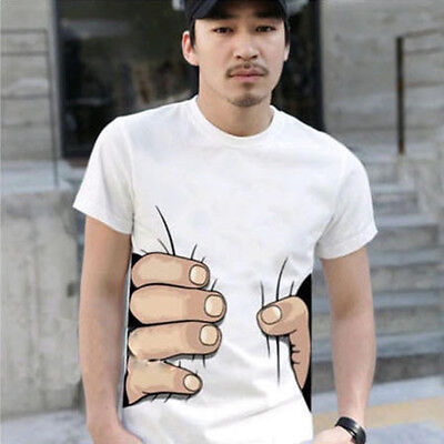 Summer Men 3D Hand Short Sleeve Cotton T Shirt O Neck Fashion Tops Funny Tshirt