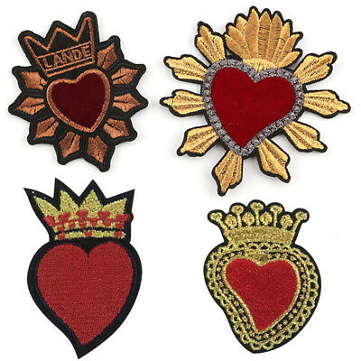 Heart Embroidered Iron On Sew On Patches Badge Bag Fabric Applique DIY Craft K