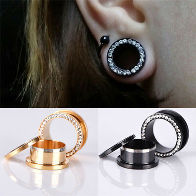 1x Rhinestone Crystal Screw Tunnels Ear Expander Stretch Plugs Piercing Gauge K