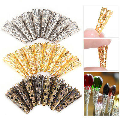 100X Filigree Bead Caps Cones Nail Spacers For Jewellery Jewelry Finding Craft K