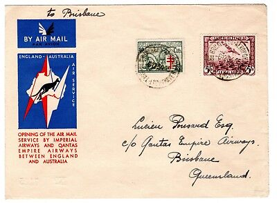 1934 Belgium Acceptance for GB to Australia First Imperial Airways Flight Cover.