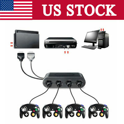 GameCube Controller Adapter 4port for Nintendo Switch Wii- U&PC USB NEW TURBO-