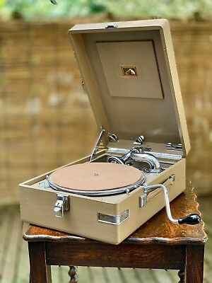 HMV 102 Portable Gramophone / Phonograph in Grey / Taupe - VERY RARE