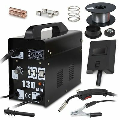 MIG Welder Gasless Flux NO Gas 120A 130 Portable Welding Machine Kits 230V UK