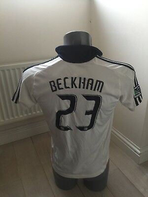 Authentic LA GALAXY MLS BECKHAM 23 UK 30/32 2009-10 Home Football Shirt EXC