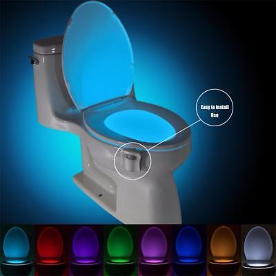 8Color Change Toilet LED Night Light Auto Human Motion Activate Seat Sensor Lamp