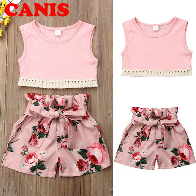 Kids Baby Girls Summer Outfits Clothes T-shirt Tops+Casual Shorts Pants 2PCS Set