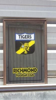 vintage collectable VFL Richmond tigers framed bar mirror ,1970's