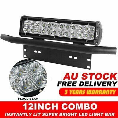 "12 inch 24000LM CREE LED Light Bar + 23"" Black Number Plate Frame Mount Bracket"